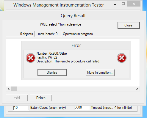 SQL Server 2012 Configuration Manager WMI Error – Remote