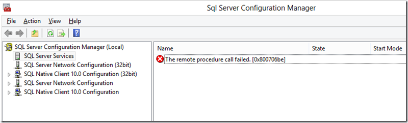 SQL Server 2012 Configuration Manager WMI Error – Remote Procedure